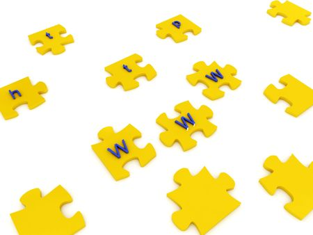 Puzzles with letters on white background. 3D Stock fotó