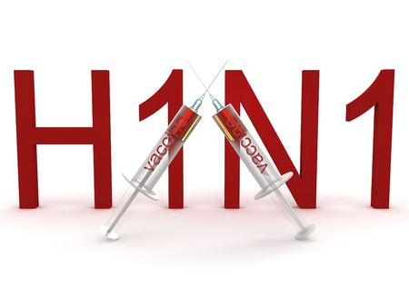 swine flu vaccines: H1N1 with the two syringes. 3D