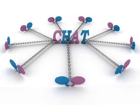 chatbox: Chat linked chain. 3D Stock Photo