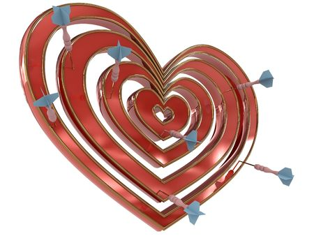 darts flying: Dartboard heart with darts. 3D