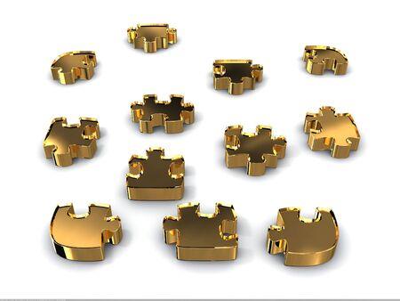 Gold puzzles. 3D