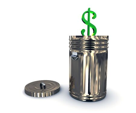 economic interest: Recycle bin with dollar. 3D