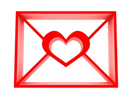 Email with heart. 3D