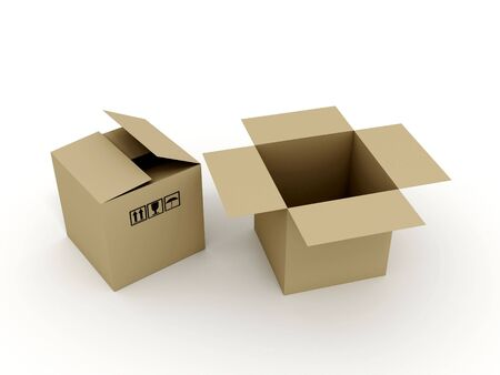 Cardboard boxes on white background. 3D Stock Photo