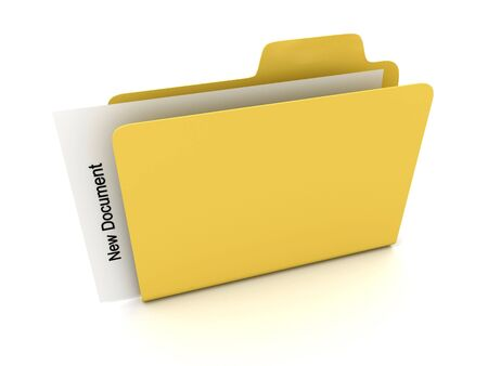 File folder with document. 3D