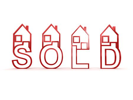 Sold houses. 3D Stock fotó