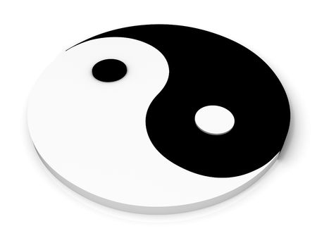 kung fu: In yan symbol on white background. 3D