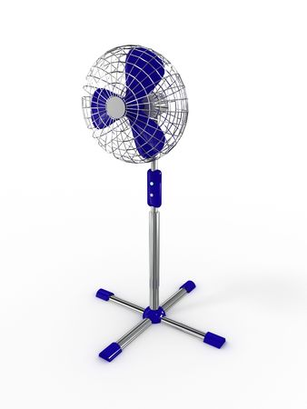 Electric fan blower on white background. 3D