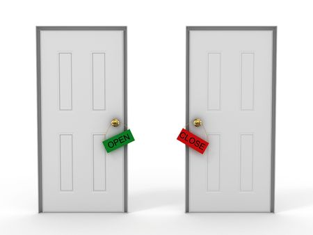 Doors with tags open and close.3D photo