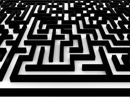 Maze Labyrinth on white background. 3D Stock fotó