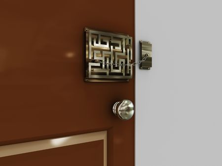 Doors with lock-maze with a chain. 3D