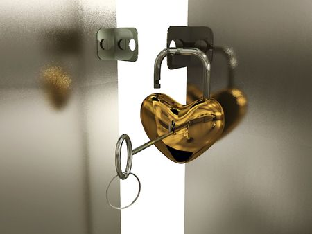 door lock love: Heart-padlock with key on the gate. 3D