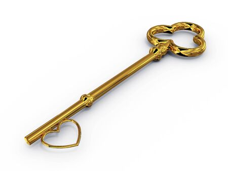 Gold key to access with heart. 3D