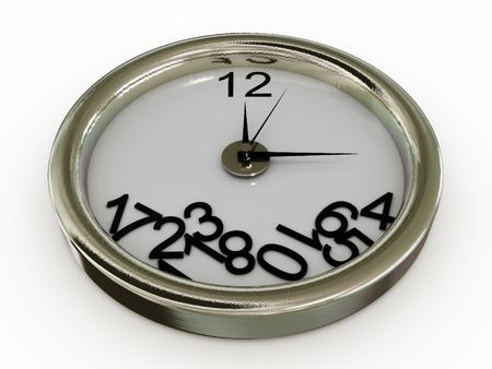 mict: Clock with numbers have fallen. 3D