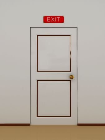 Door with an inscription on the door exit.3D photo