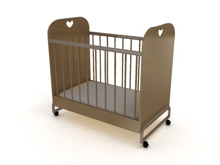 Cot on wheels with a mattress. 3D