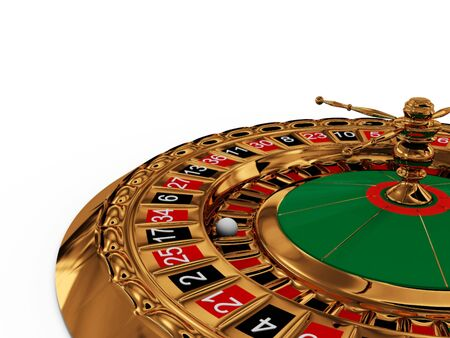 roulette wheel: Casino roulette wheel on white background. 3D