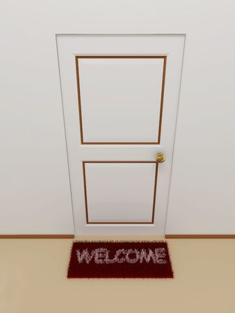 Door with doormat welcome.3D photo