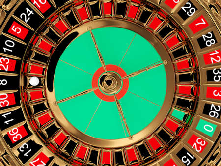 Casino roulette wheel top view. 3D