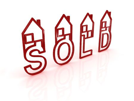 Sold houses on white background. 3D Stock Photo