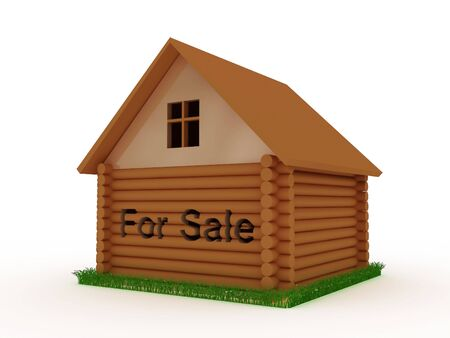 House for sale with grass around. 3D