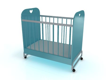 Cot on wheels with a mattress. 3D Stock Photo - 6723772