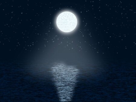 eventide: Moonlit night with stars Stock Photo