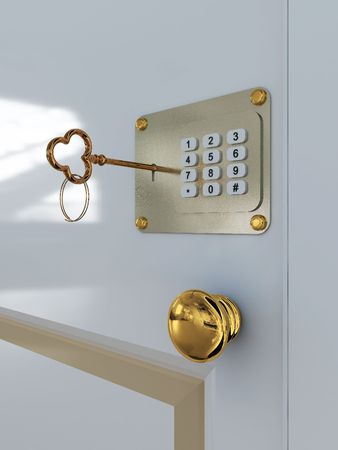 Door with combination lock and key