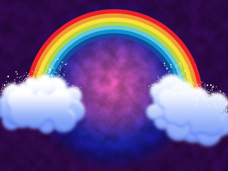 Rainbow with clouds at a gradient background. Cartoon image