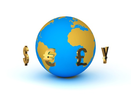 e cash: Currency around the planet earth Stock Photo