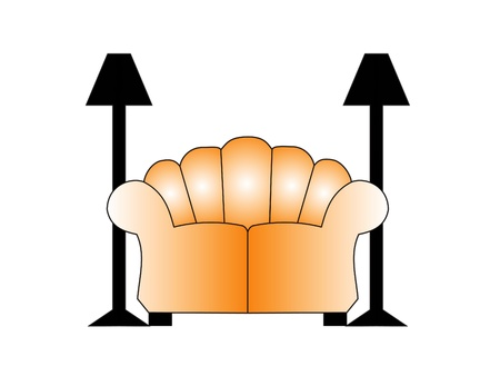 Sofa with two lamps on each side. Illustration illustration