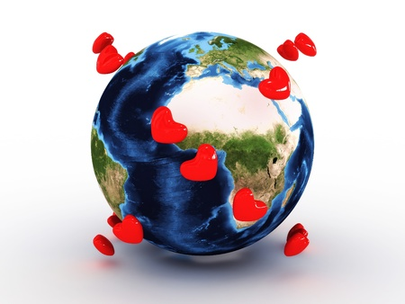 three dimensional shape: Planet earth with hearts Stock Photo
