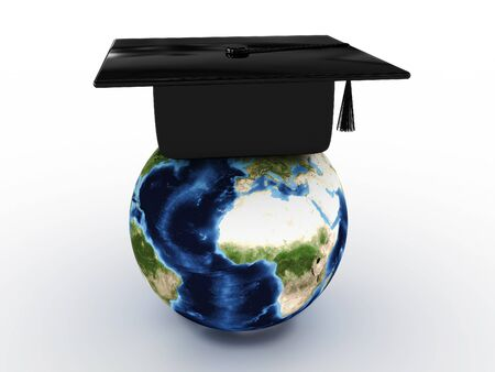 credential: Masters cap for graduates in the globe. 3D