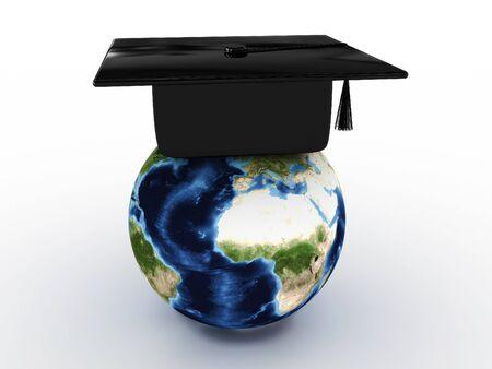 Masters cap for graduates in the globe. 3D