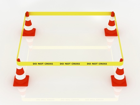 do not cross: No cruzar la l�nea de polic�a con cono de carretera