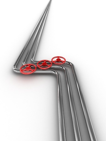 Steel tube with red valves Stock Photo
