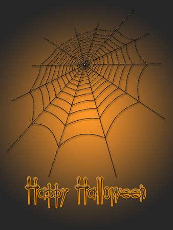 springe: Picture on Halloween. Spider web on color background