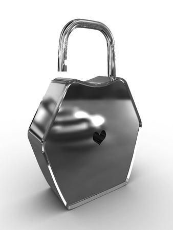 Padlock with a hole in the form of heart Stock Photo - 9870125