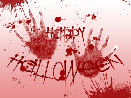 alter: Picture on Halloween. Bloody handprints Stock Photo