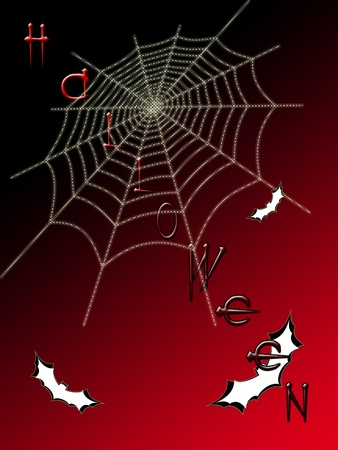 cobwebby: Picture on Halloween. Spider web on color background