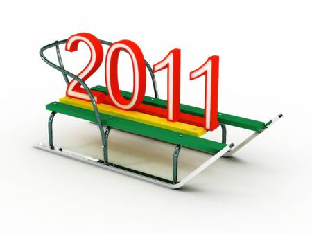 bestowal: Sled with the numbers 2011. 3D