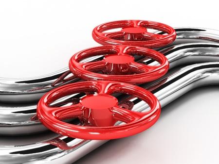 Tube en acier avec des valves rouges isolé sur fond blanc