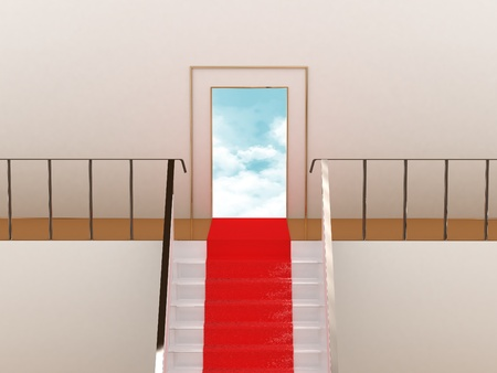 Stairway with red carpet to the sky photo