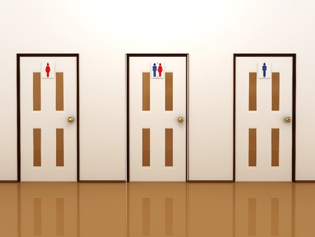 Three doors with signs for male, female and total photo