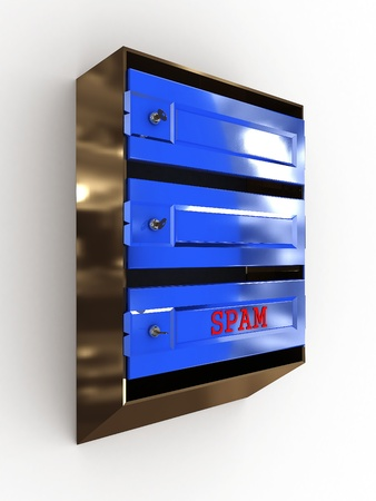 Mailboxes with keys and spam on white background photo