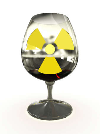 Glass of liquid radioactive isolated on white background photo