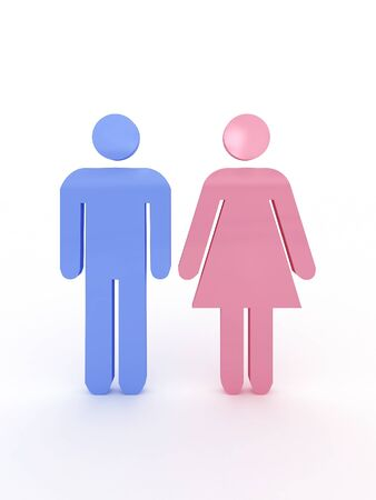 Symbols of male and female pink and blue. 3D photo