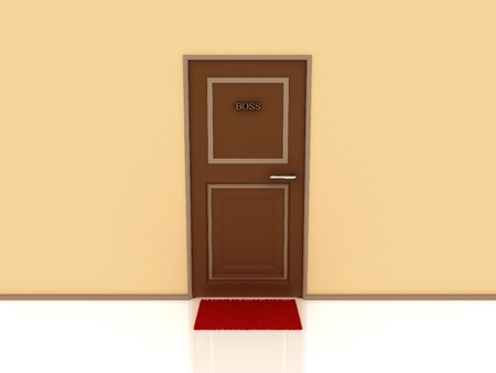 Door marked Boss and rug. 3D photo
