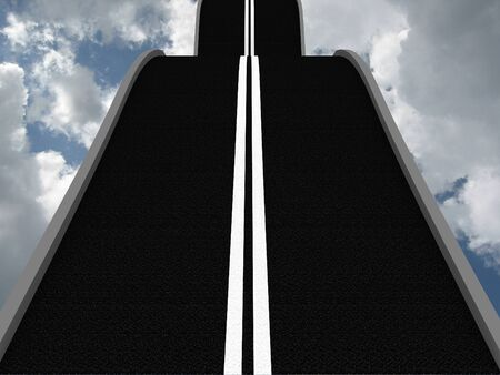 Road leading into the sky. 3D Stock Photo - 9870398