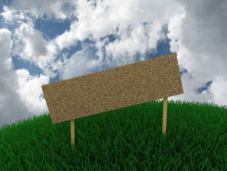 Sign in the grass against the sky photo
